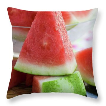 Many Pieces Of Watermelon Throw Pillow