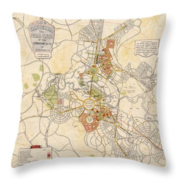 Map Of Canberra 1927 Throw Pillow