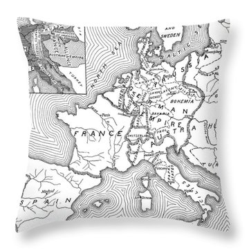 Map Of Europe, 1812-1815 Throw Pillow