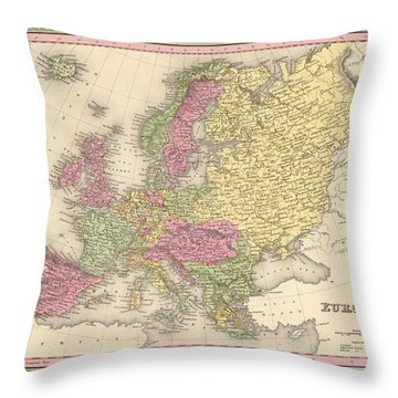 Map Of Europe Throw Pillow by Gary Grayson