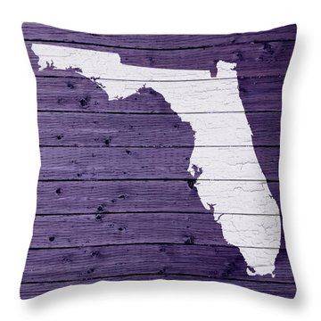 Map Of Florida State Outline White Distressed Paint On Reclaimed Wood Planks Throw Pillow by Design Turnpike