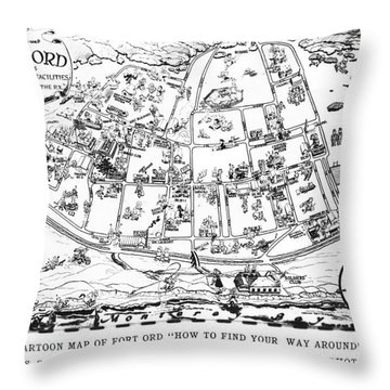Map Of Fort Ord Army Base Monterey California Circa 1950 Throw Pillow