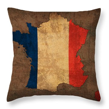 Map Of France With Flag Art On Distressed Worn Canvas Throw Pillow by Design Turnpike