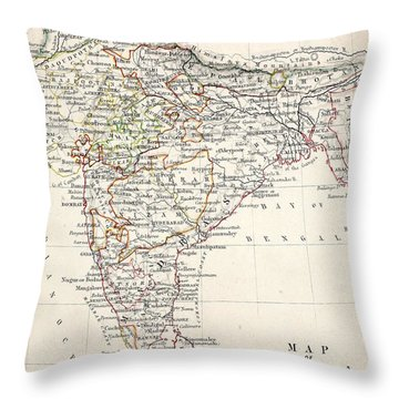 Map Of India Throw Pillow by Alexander Keith Johnson
