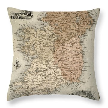 Map Of Ireland Throw Pillow by C Montague