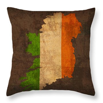 Map Of Ireland With Flag Art On Distressed Worn Canvas Throw Pillow by Design Turnpike