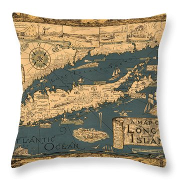 Map Of Long Island Throw Pillow