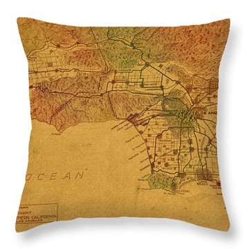 Map Of Los Angeles Hand Drawn And Colored Schematic Illustration From 1916 On Worn Parchment Throw Pillow