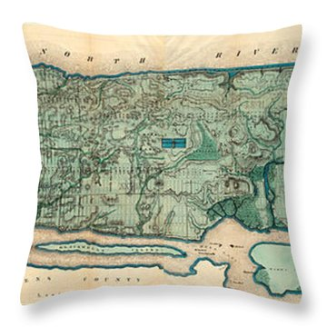 Map Of Manhattan Throw Pillow