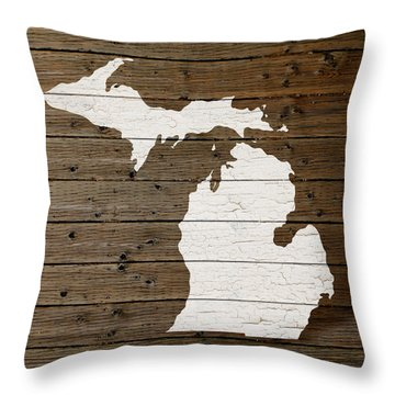 Map Of Michigan State Outline White Distressed Paint On Reclaimed Wood Planks Throw Pillow by Design Turnpike
