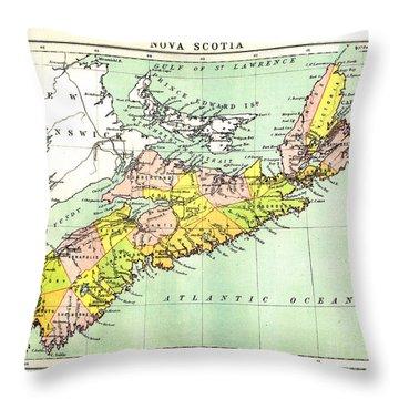 map of Nova Scotia - 1878 Throw Pillow