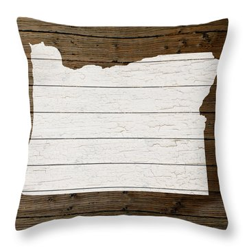 Map Of Oregon State Outline White Distressed Paint On Reclaimed Wood Planks Throw Pillow by Design Turnpike