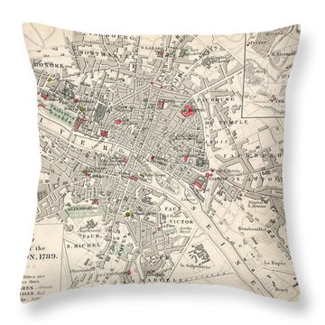 Map Of Paris At The Outbreak Of The French Revolution Throw Pillow by French School