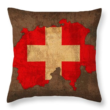 Map Of Switzerland With Flag Art On Distressed Worn Canvas Throw Pillow by Design Turnpike