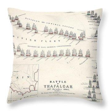 Map Of The Battle Of Trafalgar Throw Pillow by Alexander Keith Johnson