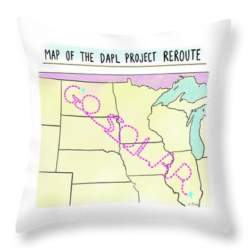 Map Of The Dapl Project Reroute Throw Pillow
