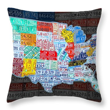 Map Of The United States In Vintage License Plates On American Flag Throw Pillow by Design Turnpike