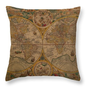 Map Of The World 1599 Vintage Ancient Map On Worn Parchment Throw Pillow