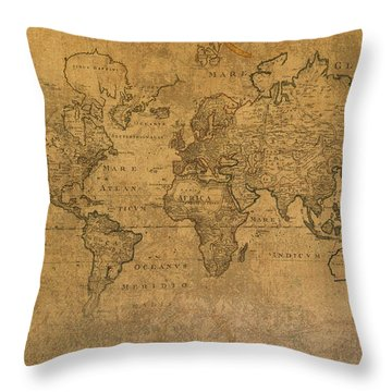 Map Of The World In 1784 Latin Text On Worn Stained Vintage Parchment Throw Pillow