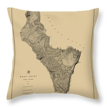 Map Of West Point 1883 Throw Pillow