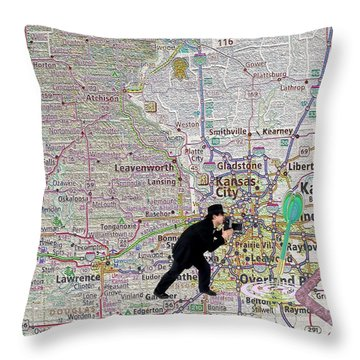Map Overland Park Kansas Throw Pillow by Liane Wright