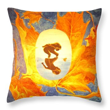 Throw Pillow featuring the painting Maple Child by Cathy Long