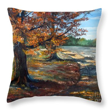 Throw Pillow featuring the painting Maple Lane by Lee Piper