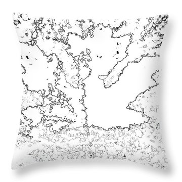 Maple Leaf Black Lines Throw Pillow