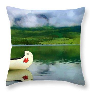 Maple Leaf Canoe On Pyramid Lake Throw Pillow by Teresa Zieba