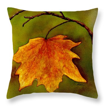 Maple Leaf In It's Yellow Splendor Throw Pillow by Nan Wright