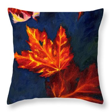 Maple Leaves In Autumn Throw Pillow by MM Anderson