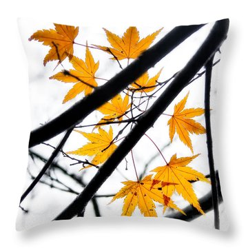 Maple Leaves Throw Pillow by Jonathan Nguyen