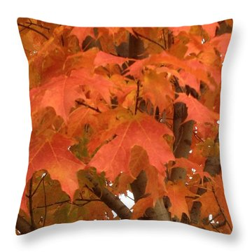 Maple Orange Throw Pillow