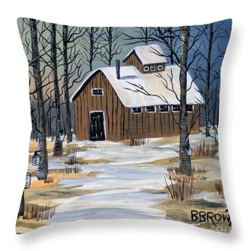 Throw Pillow featuring the painting Maple Syrup Shack by Brenda Brown