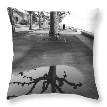 Maples Along Quai Perdonnet Throw Pillow by Colleen Williams