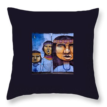 Mapuche Chilean Aborigine Graffiti's Throw Pillow