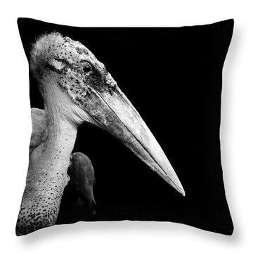 Portrait Of Marabou Stork In Black And White Throw Pillow