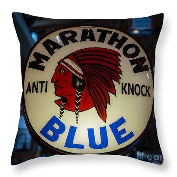Marathon Blue Vintage Gas Pump Throw Pillow