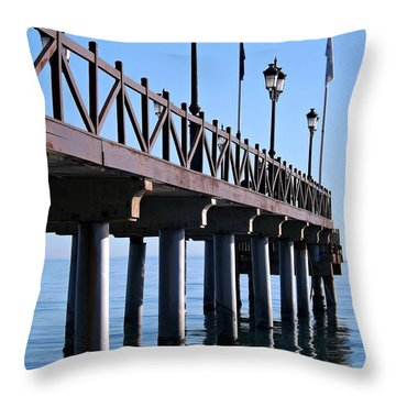 Throw Pillow featuring the photograph Marbella Pier Spain by Clare Bevan