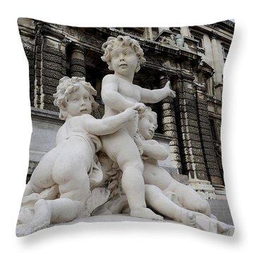 Marble Cherub And Angels Statue Vienna Austria Throw Pillow by Imran Ahmed