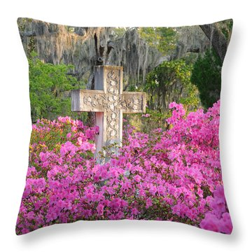 Throw Pillow featuring the photograph Marble Cross And Azaleas by Bradford Martin