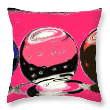 Marble Planets Throw Pillow by Mary Bedy