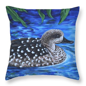Throw Pillow featuring the painting Marbled Teal Duck On The Water by Penny Birch-Williams