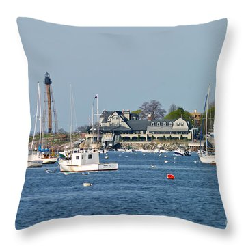 Marblehead Light And Yacht Club Throw Pillow
