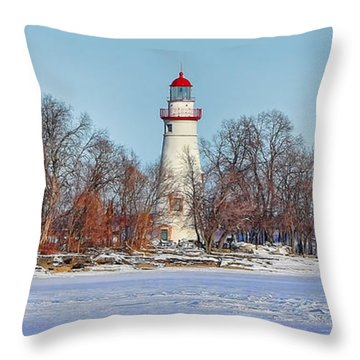 Marblehead Lighthouse In Winter Throw Pillow