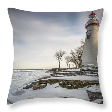 Marblehead Lighthouse Winter Throw Pillow by James Dean