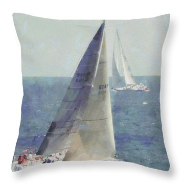 Marblehead To Halifax Ocean Race Throw Pillow by Jeff Folger