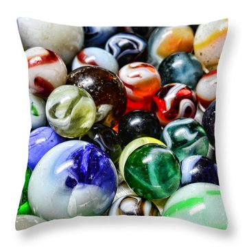 Marbles All That Color Throw Pillow by Paul Ward