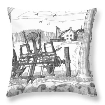 Marbletown Farm Equipment Throw Pillow