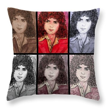 Marc Bolan Glam Rocker Collage Throw Pillow